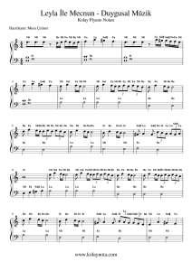 Leyla İle Mecnun - Kolay Piyano Notası
