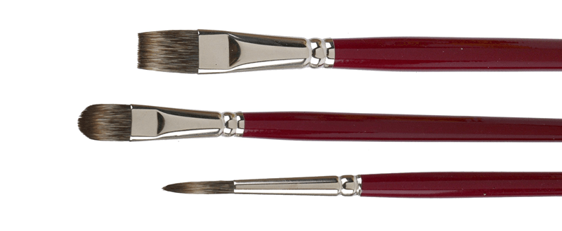 Oil-and acyrlic brushes made of synthetic mongoose-imitation