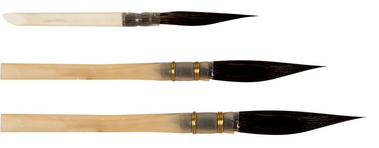 sword liner made of blue squirrel hair in natural quills