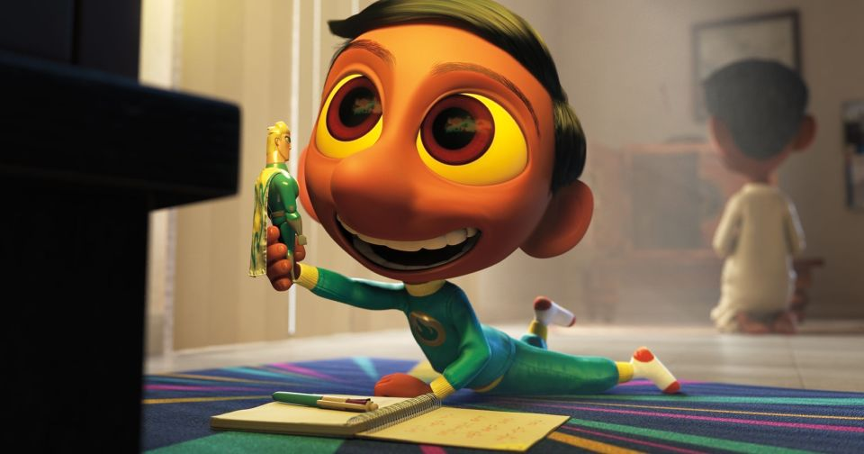 The protagonist of the short, Sanjay, watches cartoons on TV.