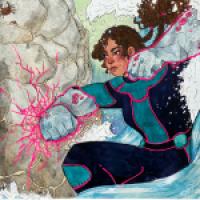 superhero sea wall girl