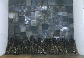Nari Ward Iron Heavens, 1995. Oven pans, ironed cotton, and burnt wooden bats. 140 x 148 x 48 inches. Image courtesy the artist and Lehmann Maupin, New York, and Hong Kong.