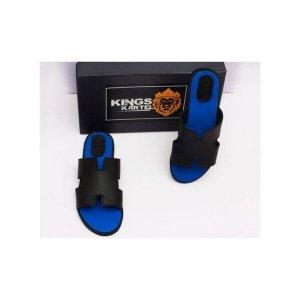 Buy Black And Blue H-tek Slip On Sandals For Men