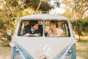 wedding car hire 1960s volkswagen kombi van with bride and groom inside VW Kombi Van Photo Gallery