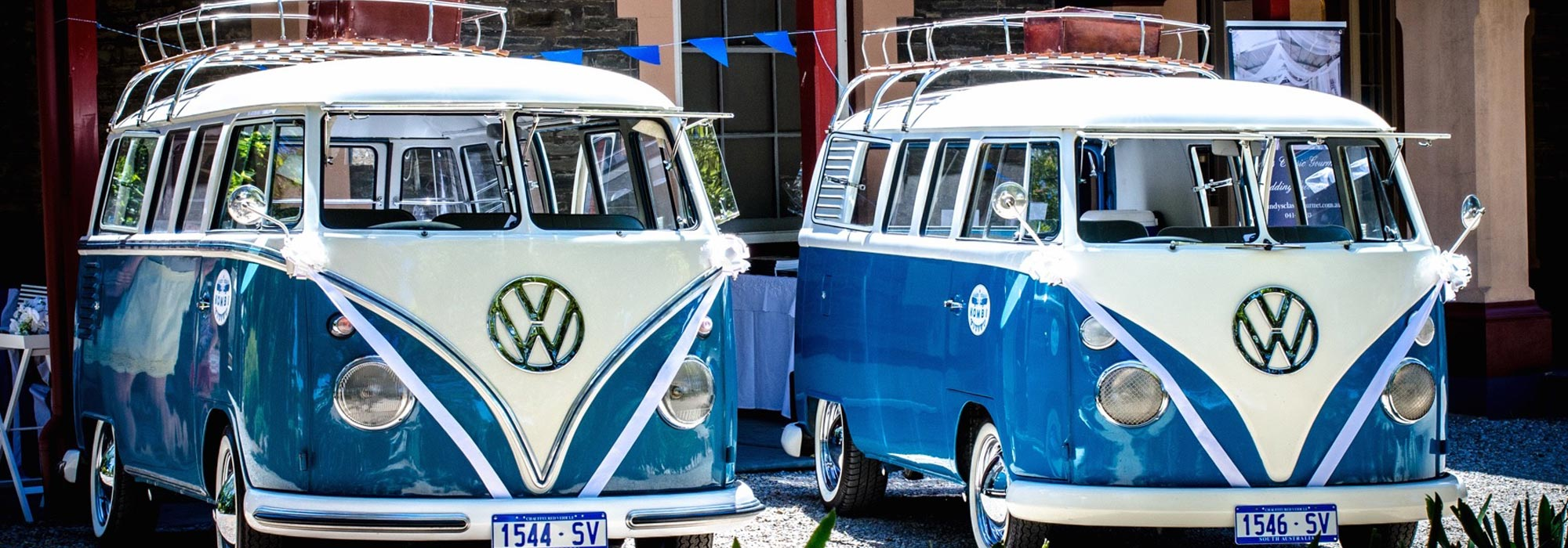 'Django' & 'Cassidy' our immaculately restored Volkswagen Kombi Vans available for hire, perfect for weddings, special events, birthdays and more.