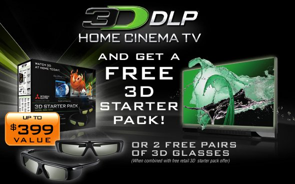 Free 3D Starter Pack for Mitsubishi 3D Ready DLP Home Cinema