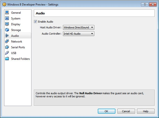 Audio Controller for Windows 8 Developer Preview on