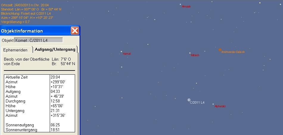 Position von Komet Panstarrs in Bonn am 24.03.2013 zu Ende der nautischen Dämmerung
