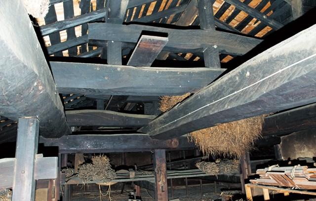屋根裏の架構。太い松の梁は迫力満点