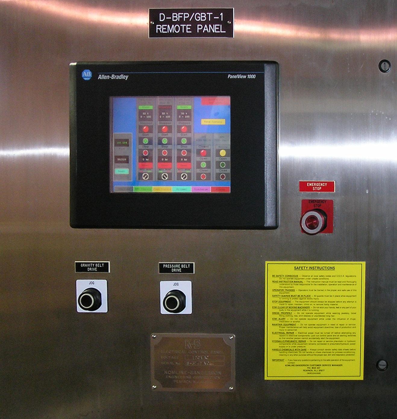 Belt Filter Press control panel