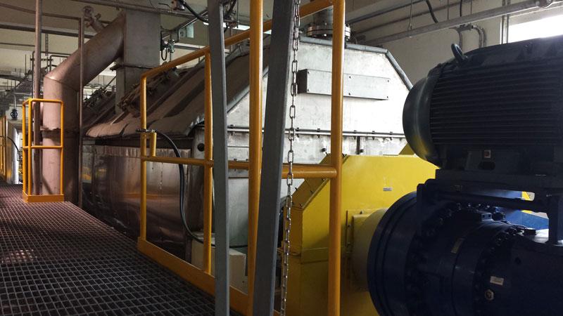 Biosolids dryer installation closeup