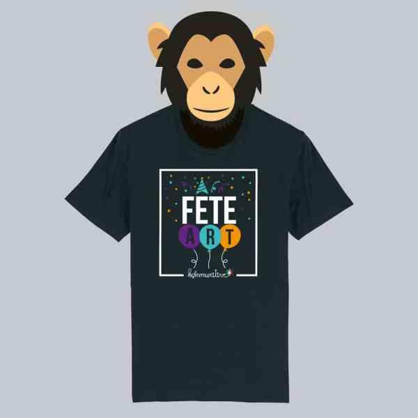 T-shirt noir à manches courtes Fête Art / Fêtard