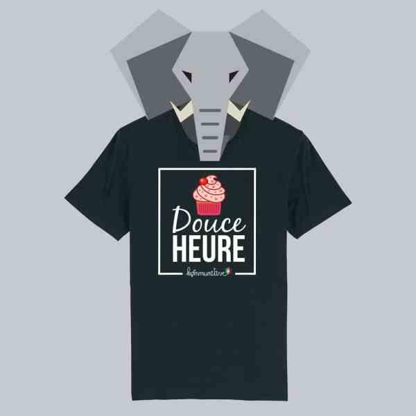 T-shirt noir à manches courtes Douce Heure / Douceur