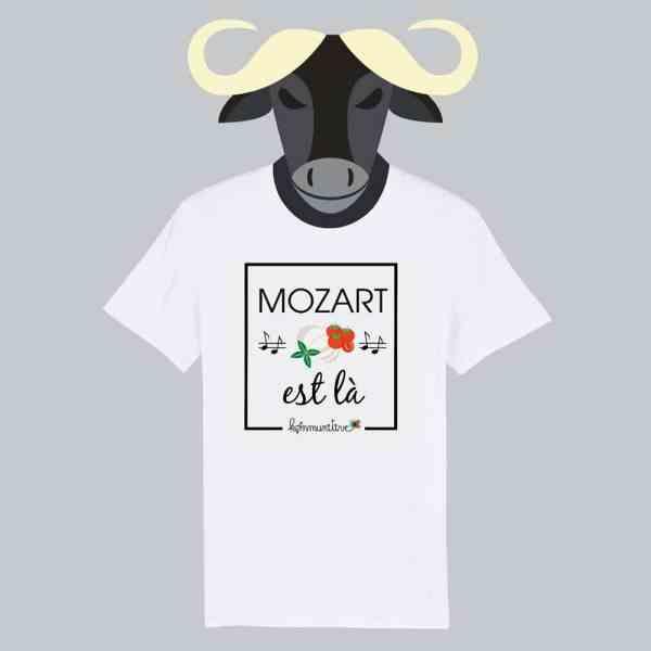 T-shirt blanc à manches courtes Mozart est là / Mozarella