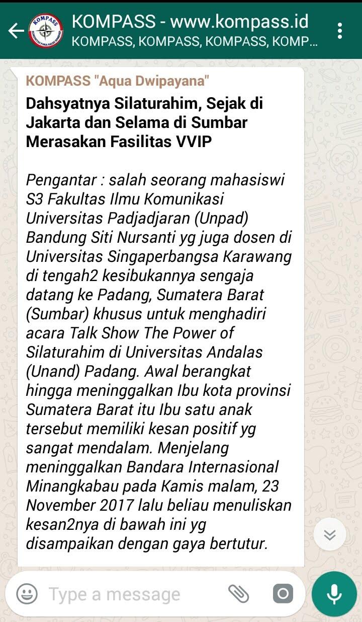 Penyampaian AQUA DWIPAYANA Tokoh SILATURAHIM Indonesia melalui KOMPASS
