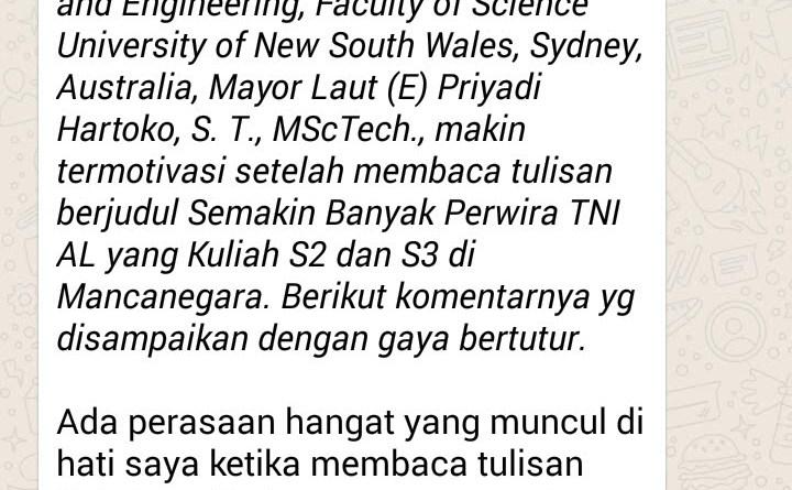 Perhatian Pimpinan TNI AL sangat Besar pada Kemajuan Perwira Muda