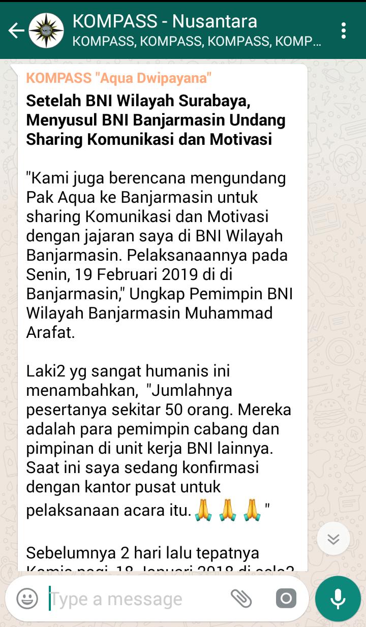 Setelah BNI Wilayah Surabaya, Menyusul BNI Banjarmasin Undang Sharing Komunikasi dan Motivasi