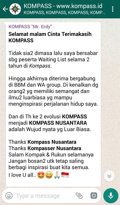 Testimoni KOMPASS Nusantara dari Mr Erdy dan Para Kompasser