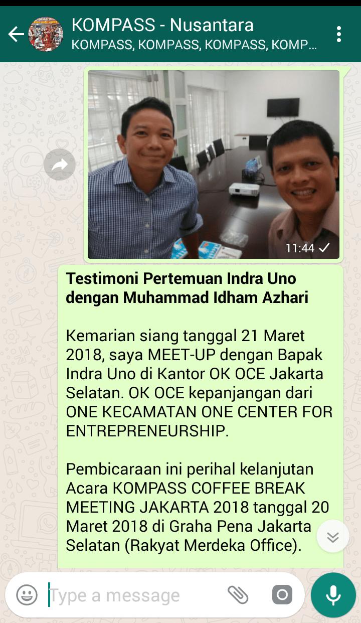 Penyampaian Muhammad Idham Azhari Praktisi Digital Marketing melalui WAG KOMPASS-Nusantara