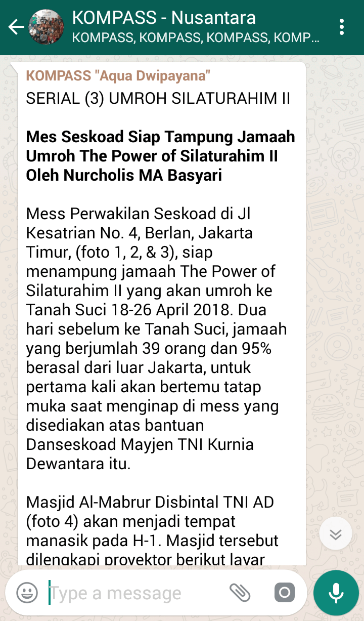 Penyampaian Aqua Dwipayana The Power of SILATURAHIM 7 April 2018 melalui WAG KOMPASS