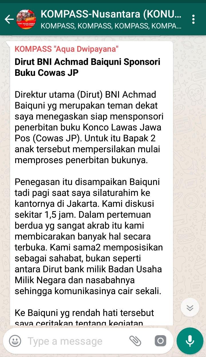 Dirut BNI Achmad Baiquni Sponsori Buku Cowas JP