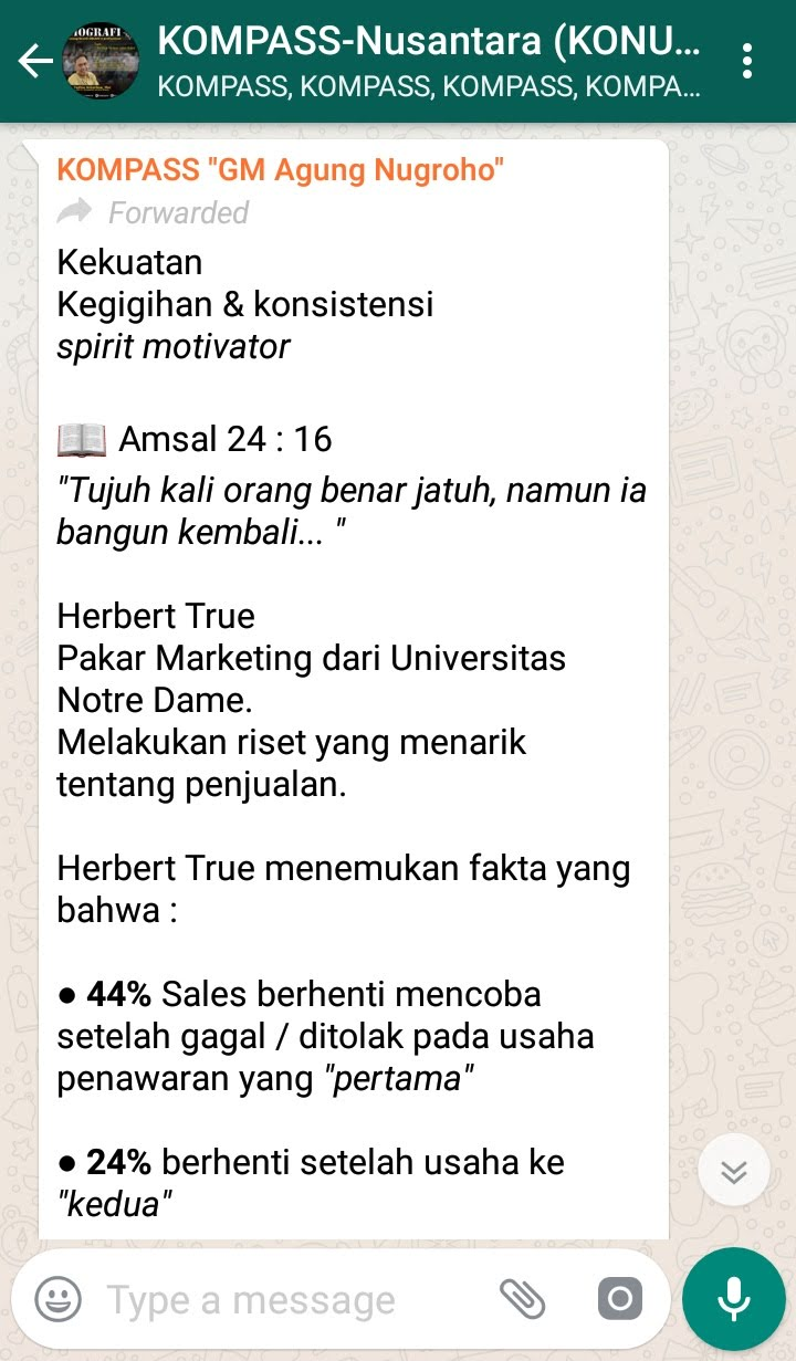Penyampaian GM Agung Nugroho The AUTHENTIC SALES Guru 19 September 2018 melalui WAG KOMPASS Nusantara