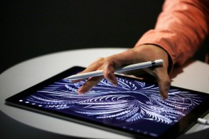 SAN FRANCISCO, CA - SEPTEMBER 9: A man uses the new Apple Pencil on an iPad Pro after an Apple special event at Bill Graham Civic Auditorium September 9, 2015 in San Francisco, California. Apple Inc. unveiled the latest iterations of its smart phone, the 6S and 6S Plus, an update to its Apple TV set-top box as well as announcing the new iPad Pro. (Photo by Stephen Lam/ Getty Images)