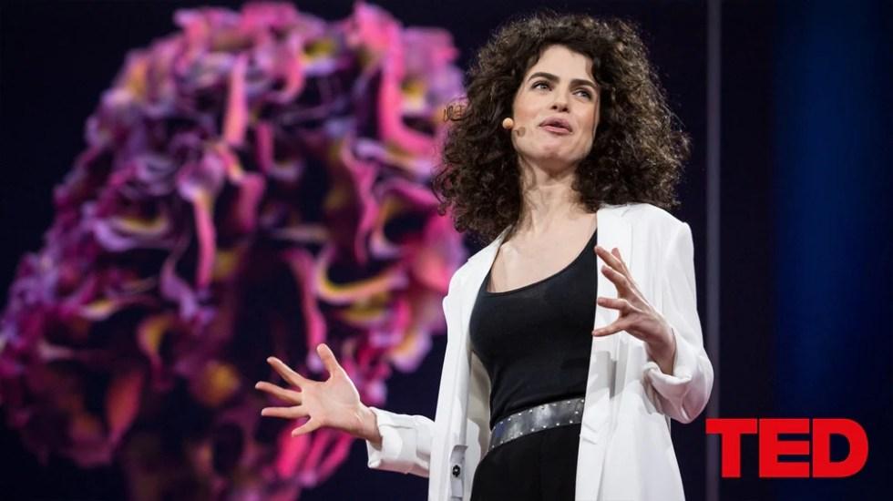 Bilde av foredragsholder på TED-konferanse.