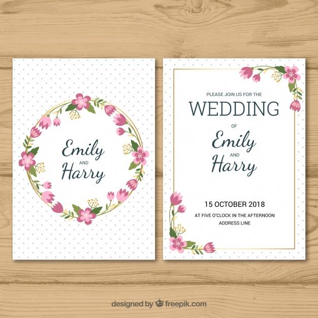 Kartu undangan pernikahan dalam gaya datar