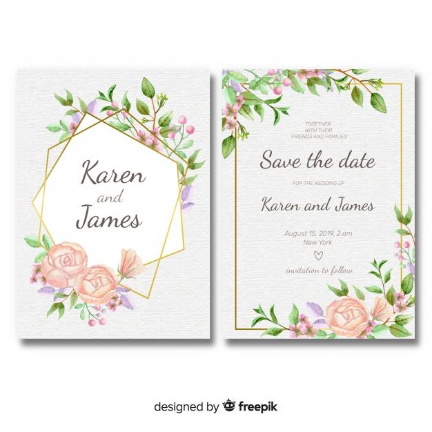 Template undangan pernikahan bunga