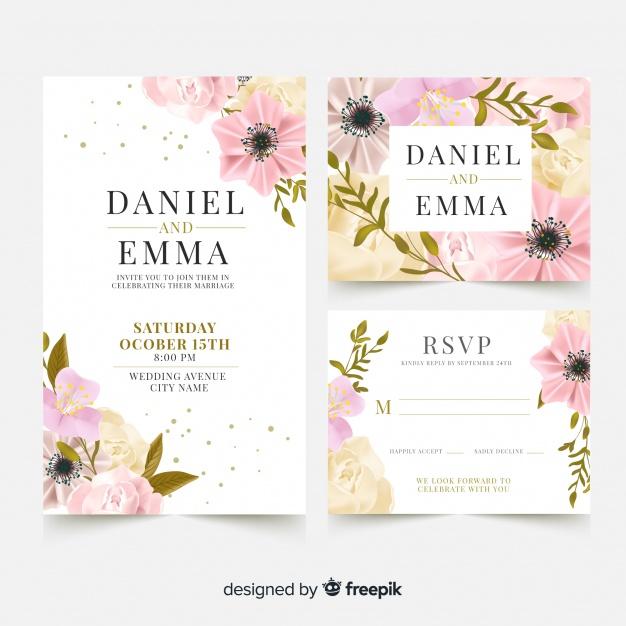 Templat kartu pernikahan yang elegan