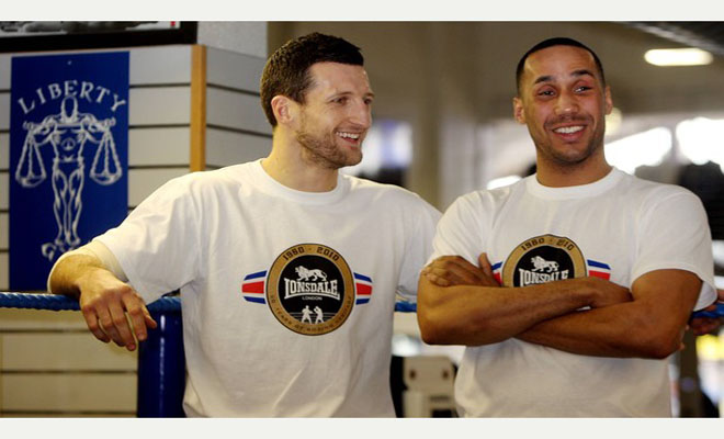 SPORT Lonsdale event at Liberty Gym in Nottingham to celebrate 50th anniversary, with Carl Froch, James DeGale MBE, and Tony Jeffries- all giving an insight into world of boxing. IN PHOTO - LEFT TO RIGHT - Carl Foch and James DeGale MBE. Post Photo - Matt Alexander - C250310MA1-8 Isobel (Brand Nation) 02079407170