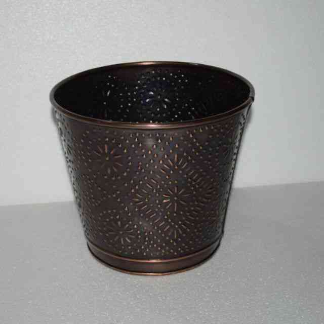 Embossed Copper Antique small galvanized planting pot