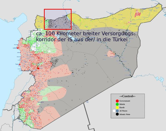 Syrien Karte - Bildquelle: Wikipedia / www.konjunktion.info