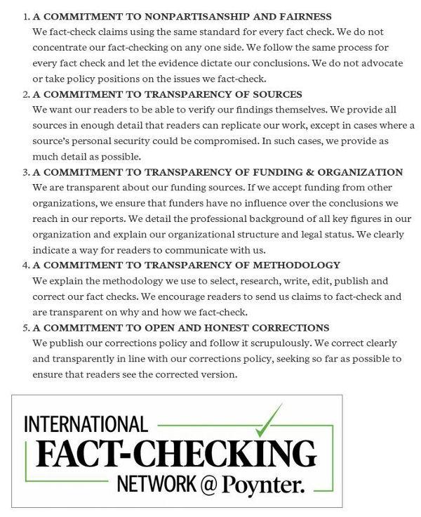 IFCN 5 Prinzipien - Bildquelle: Screenshot-Ausschnitt www.poynter.org