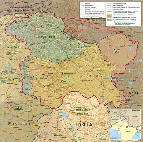 Kaschmirregion - Bildquelle: Wikipedia / CIA; Public Domain