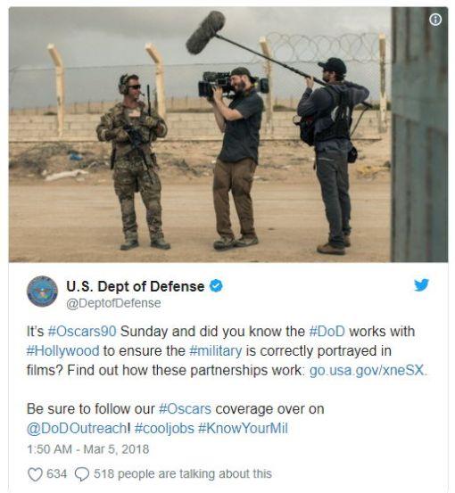 Tweet US-Kriegsministerium - Bildquelle: Screenshot-Ausschnitt Twitter