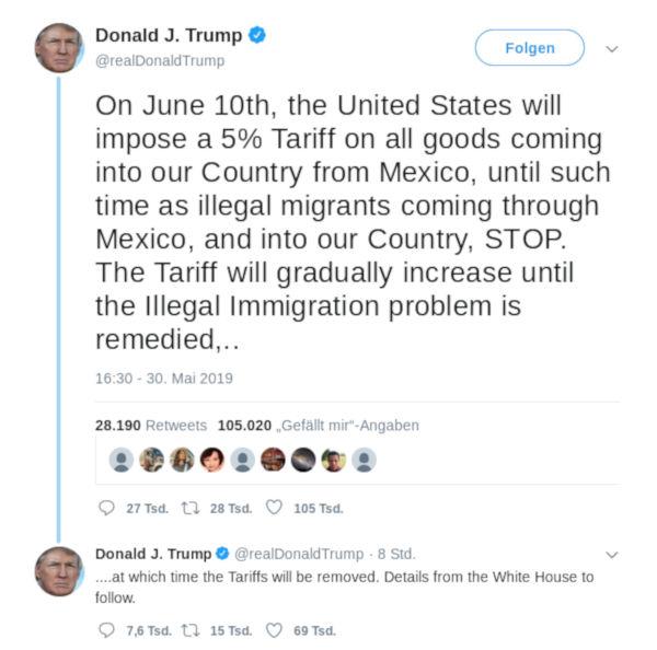 Tweet Trump Mexiko - Bildquelle: Screenshot-Ausschnitt Twitter