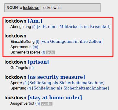 Übersetzung Lockdown - Bildquelle: Screenshot-Ausschnitt dict.cc