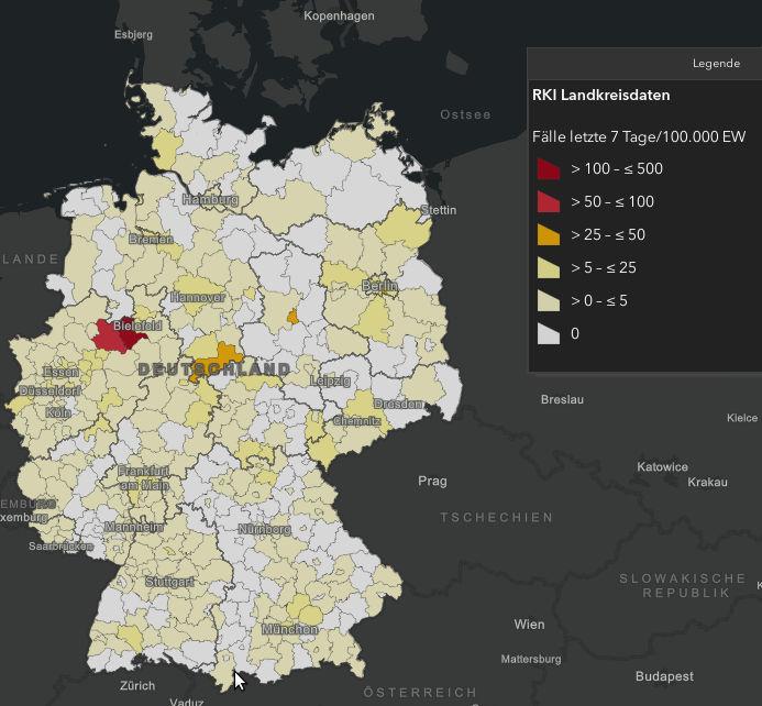 RKI-Zahlen Landkreise - Bildquelle: Screenshot-Ausschnitt RKI-Dashboard Covid-19