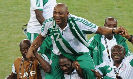 Nigeria's coach Stephen Keshi carried by players Letter to Mr Keshi