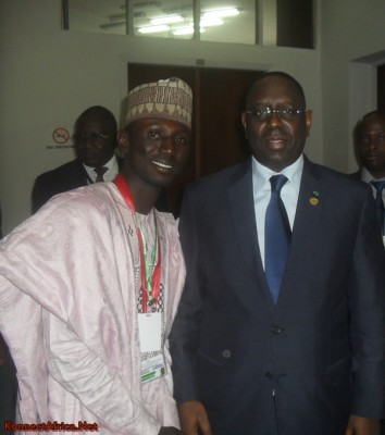 With the Senegalese President-His Excellency Macky Sall at the Inter-generational Dialogue.