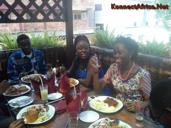 L-R: Umar Nazir, Mabel Blankson and Jennifer Nkem-Eneanya share anecdotes as they dine.