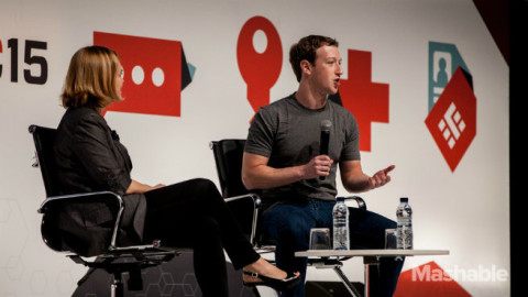 Mark Zuckerberg speaks on stage at Mobile World Congress 2014. Image: Mashable, William Sand