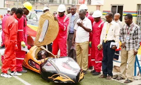 Technical Assessment session: Members of Team University of Lagos presenting the student-made fuel efficient Autonov-3 car at the Campos Mini Stadium in Lagos