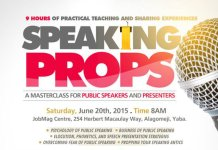 Speech Presentation Strategies on Speaking Props Lagos