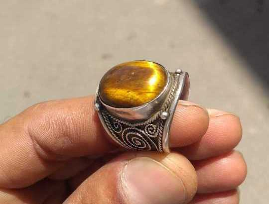 خاتم نقرة بحجر كريم طبيعي أصلي