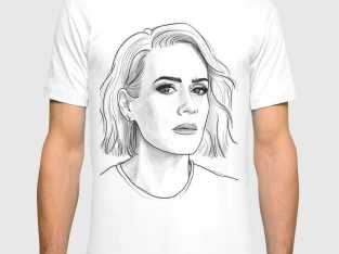 رسم على تيشرت_T-shirt  portrait بورتري Dessin
