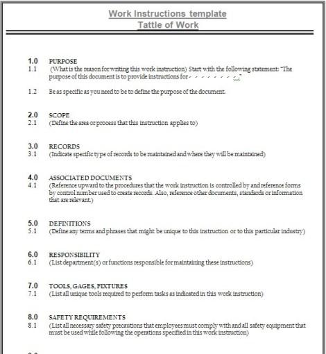 Contoh format instruksi kerja sebuah perusahaan