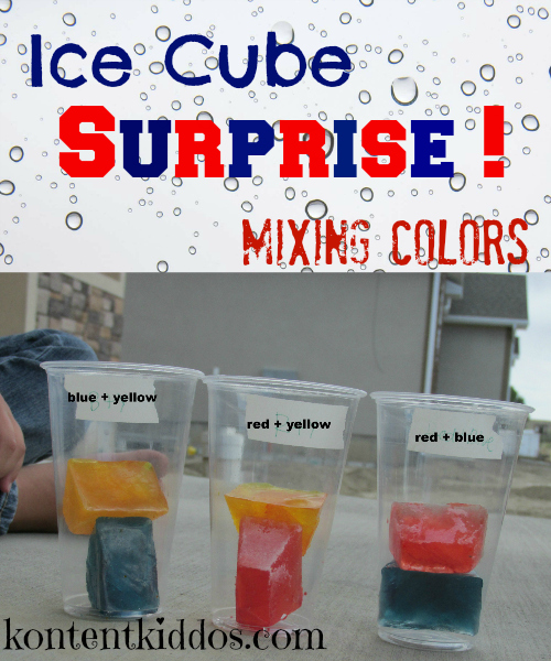 Mixing colors using ice cubes and sunshine!